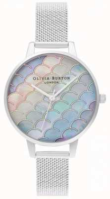 Olivia Burton Mermaid Tail Demi Dial srebrny boucle Mesh Watch OB16US46