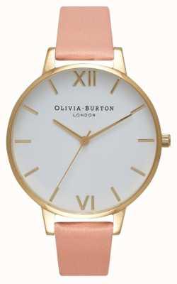 Olivia Burton Biała tarcza zakurzony różowo-złoty zegarek OB16BDW13