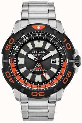 Citizen Męski Promaster Diver GMT | stal nierdzewna | czarna tarcza | pomarańczowy akcent BJ7129-56E