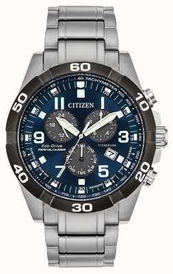 Citizen Brycen Super Titanium Perpetual Calendar z niebieską tarczą BL5558-58L
