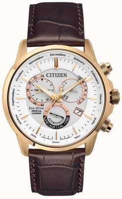 Citizen Zegarek z wiecznym kalendarzem Caliber 8700 | brązowy skórzany pasek BL8153-11A