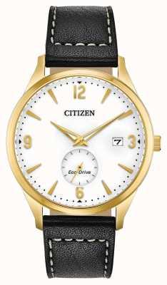 Citizen Etui z pvd w kolorze złotym eco-drive | czarny skórzany pasek BV1112-05A
