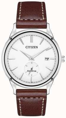 Citizen Męski zegarek z ekologicznym napędem ze stali nierdzewnej w brązowym skórzanym pasku BV1119-14A