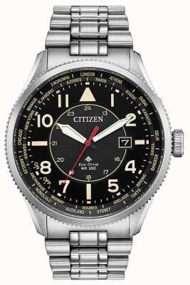 Citizen Męski zegarek promaster nighthawk z czarną tarczą ze stali nierdzewnej BX1010-53E