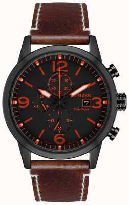 Citizen Męski, sportowy, czarny, skórzany zegarek z ekologicznym napędem CA0617-11E