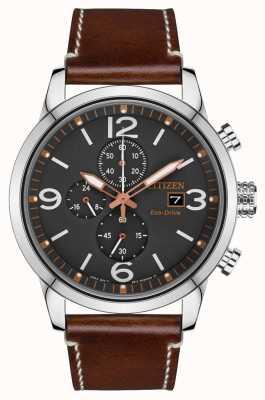 Citizen Męski sportowy zegarek z brązowym skórzanym paskiem z napędem ekologicznym CA0618-26H
