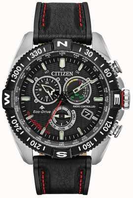Citizen Męski promaster navihawk sterowany radiowo w chrono czarna tarcza z czarnej skóry CB5841-05E