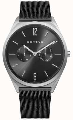 Bering Ultra slim | czarny pasek z siatki stalowej | czarna tarcza 17140-102