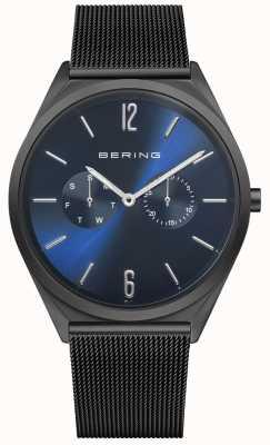 Bering Ultra slim | bransoletka z czarnej stali | niebieska tarcza 17140-227