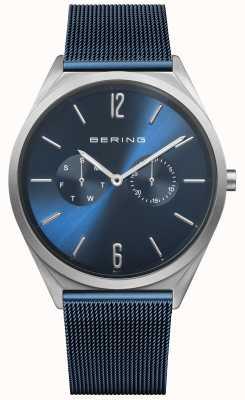 Bering Ultra slim | niebieski pasek z siatki stalowej | niebieska tarcza 17140-307
