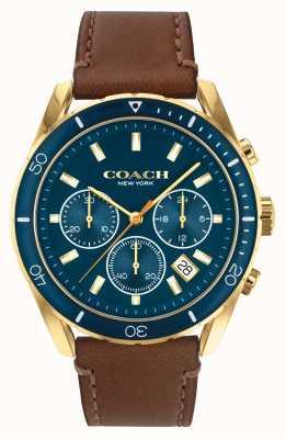 Coach Preston dla mężczyzn | brązowy skórzany pasek | niebieska tarcza 14602513