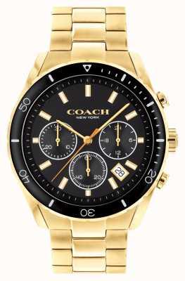 Coach Preston dla mężczyzn | pozłacana stalowa bransoletka | czarna tarcza 14602517