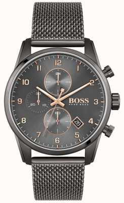 BOSS Skymaster sport lux | bransoletka z czarnej siatki ip | czarna tarcza 1513837