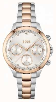 BOSS Hera dla kobiet | dwukolorowa stalowa bransoletka | srebrna tarcza 1502564