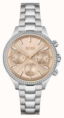 BOSS Hera dla kobiet | bransoleta ze stali nierdzewnej | różana tarcza 1502565