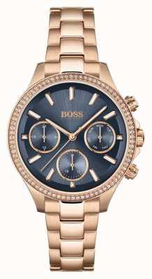 BOSS Hera dla kobiet | bransoleta ze stali w kolorze różowego złota | niebieska tarcza 1502566