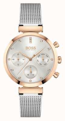 BOSS Bezbłędne kobiety | bransoleta z siatki stalowej | srebrna tarcza 1502551