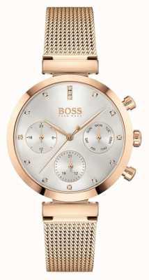 BOSS Bezbłędne kobiety | bransoletka z siatki w kolorze różowego złota | srebrna tarcza 1502553