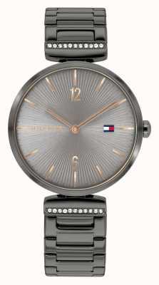 Tommy Hilfiger Aria dla kobiet | brązowo-szara stalowa bransoletka | szara tarcza 1782276