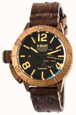 U-Boat Brązowy automatyczny brązowy skórzany pasek Sommerso 46 8486