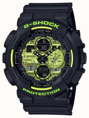 Casio G-shock | kamuflaż cyfrowy | czarna żywica GA-140DC-1AER