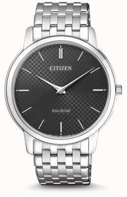 Citizen Męski, ultra cienki zegarek z czarną tarczą AR1130-81H