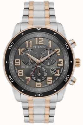 Citizen Męski zegarek eco-drive z wiecznym kalendarzem i chronografem z dwukolorową czarną tarczą BL5516-58H