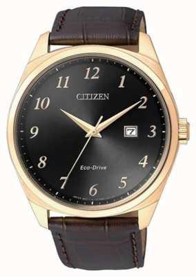 Citizen Męski zegarek z brązowym skórzanym paskiem w kolorze złotym ip BM7323-11E