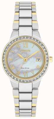 Citizen Damski, kryształowy, dwukolorowy zegarek z tarczą z masy perłowej EW1994-57N