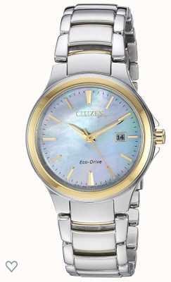 Citizen Damski zegarek typu eco-drive z masy perłowej ze stali nierdzewnej i różowego złota EW2524-55N
