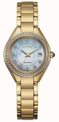 Citizen Damski zegarek z kryształowej masy perłowej EW2552-50D