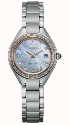 Citizen Damski zegarek z kryształową tarczą i tarczą ze stali nierdzewnej EW2556-59Y