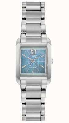 Citizen Damski zegarek l eco-drive z kwadratową tarczą z masy perłowej EW5551-56N