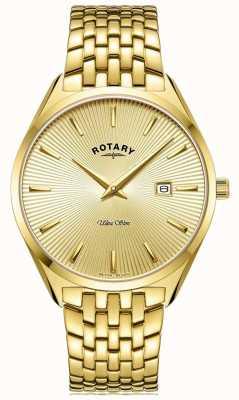Rotary Ultra slim dla mężczyzn   pozłacana stalowa bransoletka   złota tarcza GB08013/03