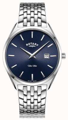 Rotary Niezwykle smukły, srebrno-niebieski zegarek z tarczą GB08010/05