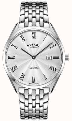 Rotary Niezwykle smukły srebrny zegarek ze stali nierdzewnej GB08010/01