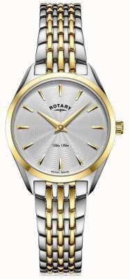 Rotary Niezwykle smukły damski zegarek z dwukolorową bransoletą LB08011/02