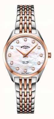 Rotary Niezwykle smukły damski dwukolorowy zegarek z bransoletą z masy perłowej LB08012/41/D