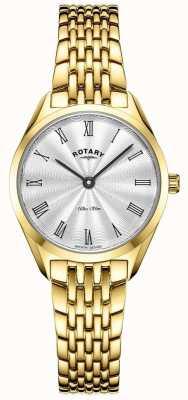Rotary Ultra slim dla kobiet | zegarek ze stali pozłacanej | srebrna tarcza LB08013/01