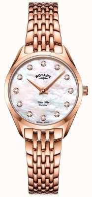 Rotary Niezwykle smukły damski zegarek z bransoletą w kolorze różowego złota LB08014/41/D