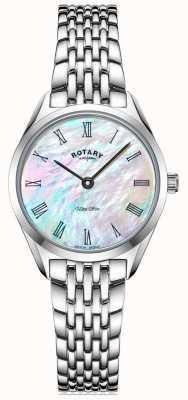 Rotary Niezwykle smukły damski zegarek ze srebrną bransoletą LB08010/41