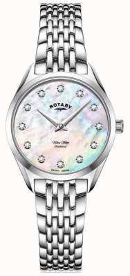 Rotary Ultra slim dla kobiet | bransoleta ze stali nierdzewnej | diamentowa tarcza z masy perłowej LB08010/07/D