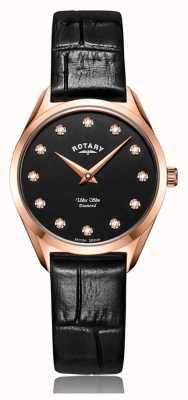 Rotary Niezwykle smukły damski zegarek z diamentami w kolorze różowego złota LS08014/04/D