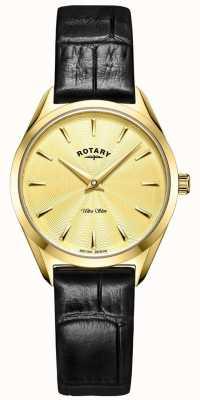 Rotary Niezwykle smukły damski złoty skórzany zegarek LS08013/03