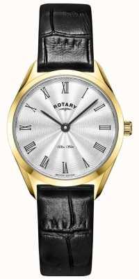 Rotary Niezwykle smukły damski złoty skórzany zegarek LS08013/01