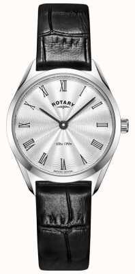 Rotary Niezwykle smukły damski zegarek ze srebrnej skóry LS08010/01
