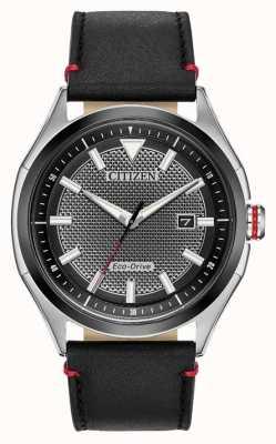 Citizen Męska czarna tarcza eco-drive z paskiem | czarna skóra | zegarek AW1148-09E