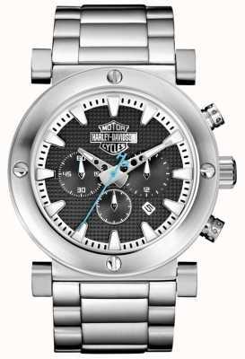 Harley Davidson Chronograf męski | bransoleta ze stali nierdzewnej | czarna tarcza 76B166