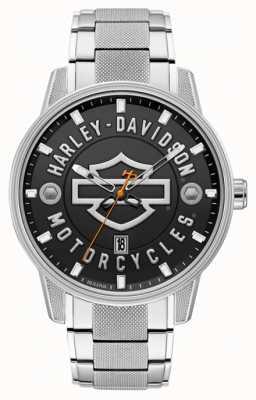 Harley Davidson Mężczyźni dla niego! | bransoleta ze stali nierdzewnej | czarna tarcza 76B182