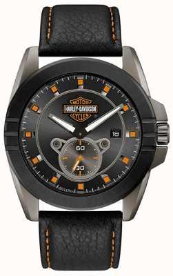 Harley Davidson Mężczyźni dla niego! | czarny skórzany pasek | szara tarcza 78B182